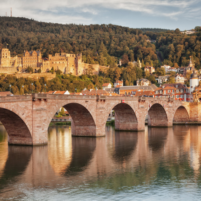 """""""Old town with Karl-Theodor-Bridge (Old Bridge) and Castle, Neckar River,..."""" stock image"""