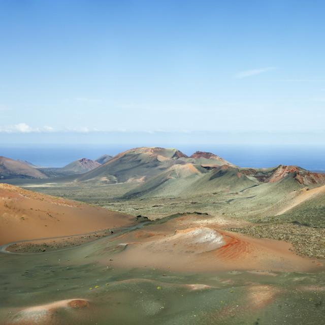 """""""Ruta de los Volcanes, Montanas del Fuego, Parque National de Timanfaya,..."""" stock image"""