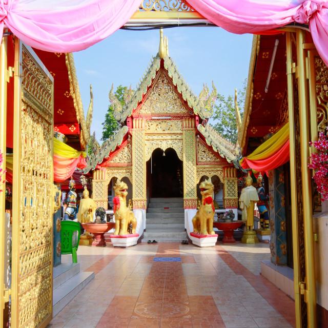 """Temple bot at Doi Kham (Wat Phra That Doi Kham) (Temple of the Golden..."" stock image"