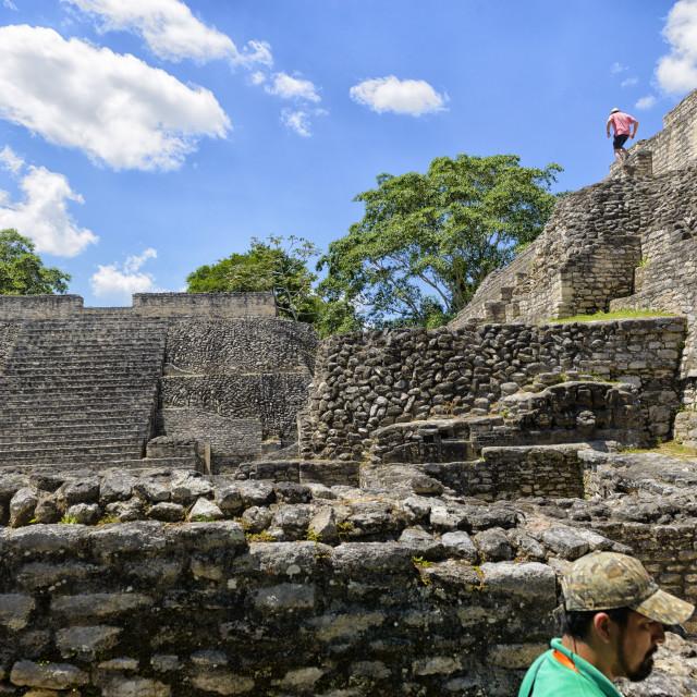 """""""Exploring the Mayan ruins at Caracol"""" stock image"""