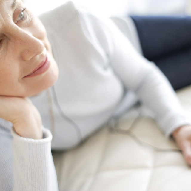 """""""Woman listening to music"""" stock image"""