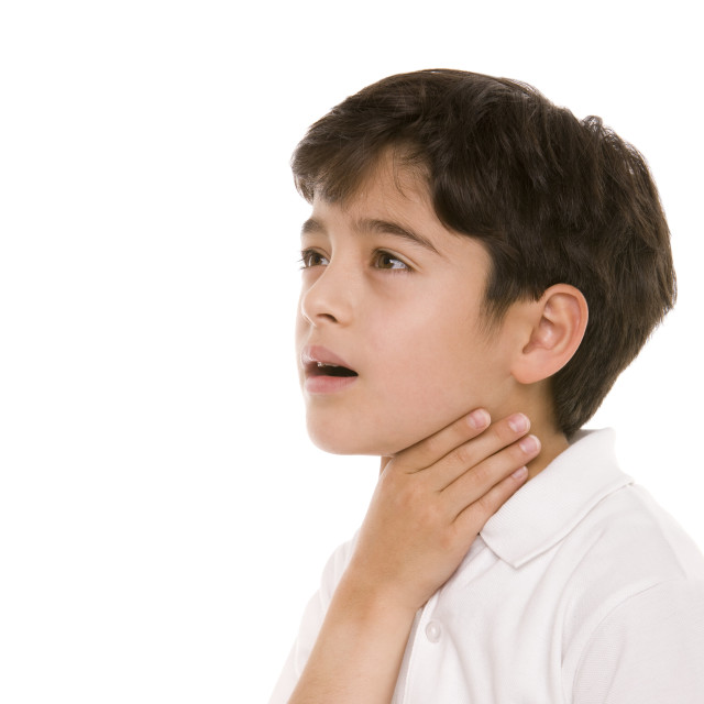 """Boy with a sore throat"" stock image"