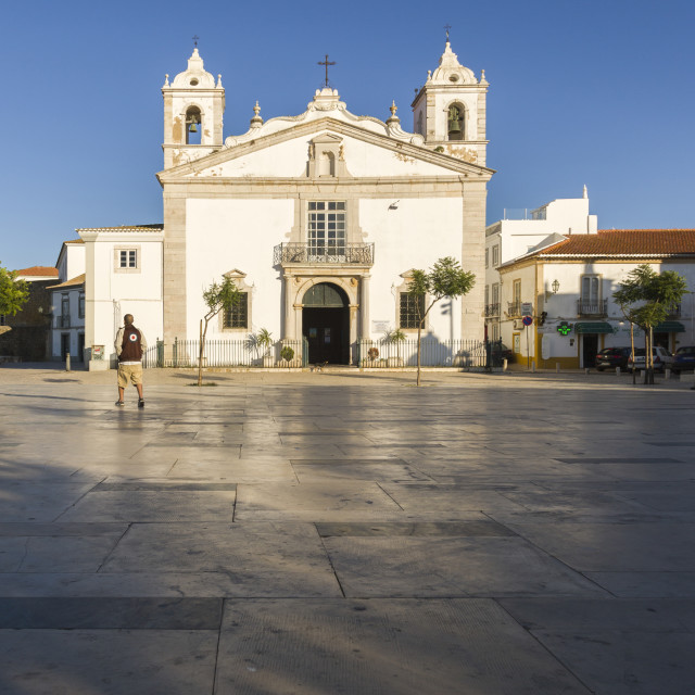 """""""View of the Church of Santa Maria located in the city of Lagos, Faro..."""" stock image"""