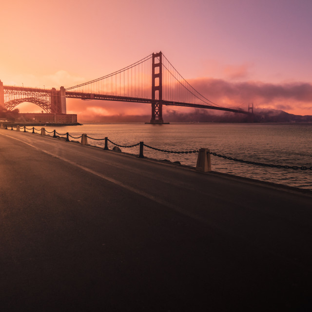 """Golden hour, Golden gate"" stock image"
