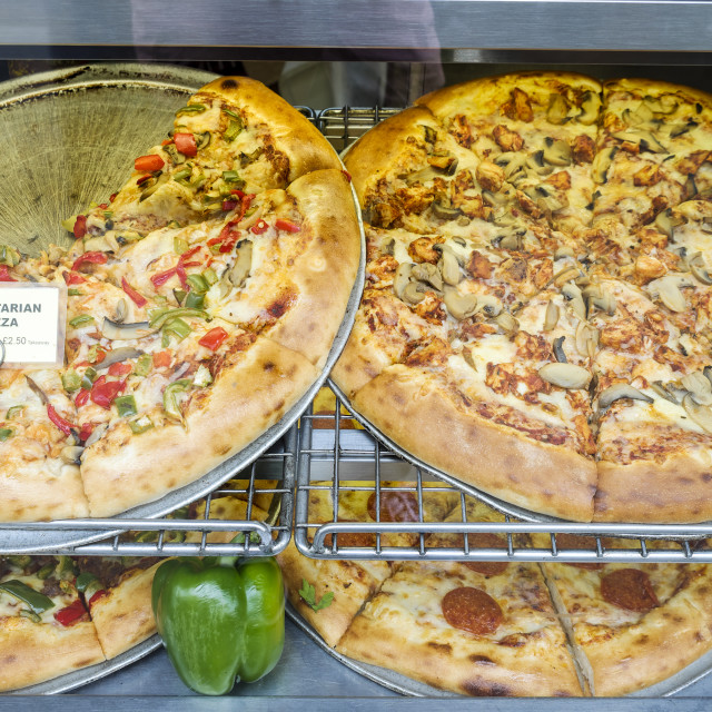 """""""Pizza for sale on display"""" stock image"""