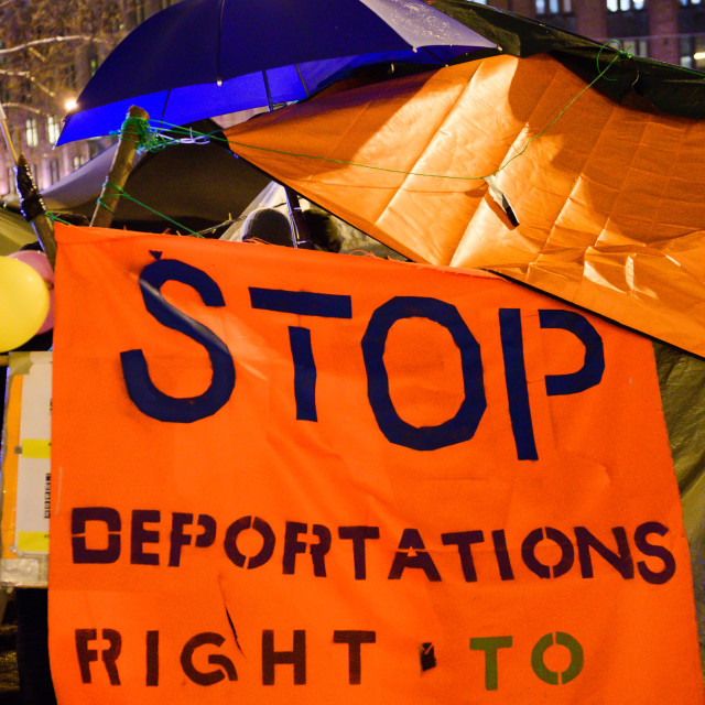 """""""February 27, 2017. Helsinki, Finland. People protesting against deportation with slogan and flag of Finland on tents,near Central Train Station in Helsinki,Finland"""" stock image"""