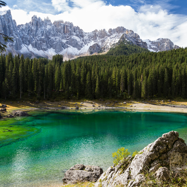 """Carezza lake at midday"" stock image"