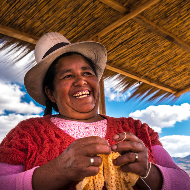 """Peruvian woman with big hat, Peru"" stock image"