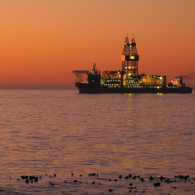 """oil tanker offshore Sea Point, Cape Town, South Africa ..."" stock image"