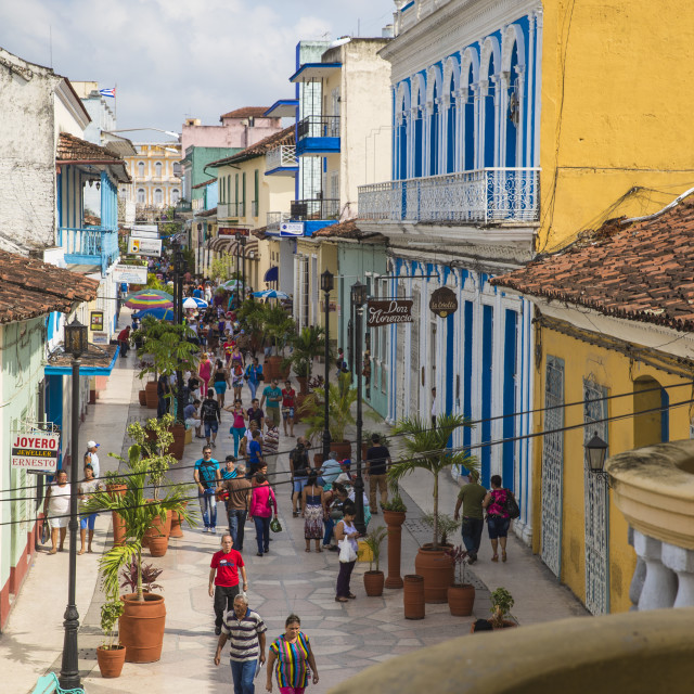 """Calle Independencia Sur, a pedestrian shopping street, Sancti Spiritus,..."" stock image"