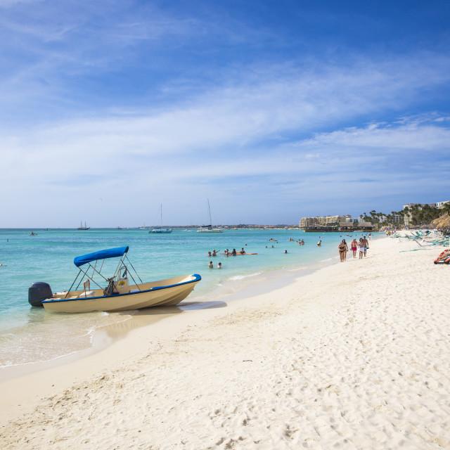 """Palm beach, Aruba, Netherlands Antilles, Caribbean, Central America"" stock image"