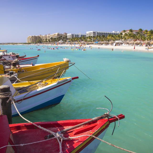 """Boats at Fishermans Pier, Palm Beach, Aruba, Netherlands Antilles, Caribbean,..."" stock image"