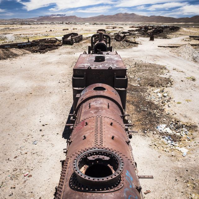 """Train Cemetery aka train graveyard, Uyuni, Bolivia"" stock image"