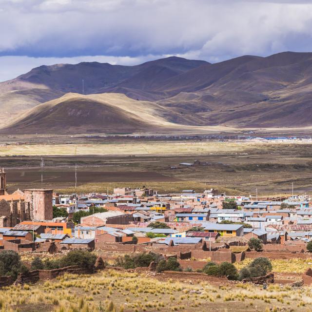"""""""Pucara seen from Pukara Inca Ruins, Puno Region, Peru"""" stock image"""