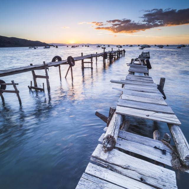 """Lake Titicaca pier at sunset, Copacabana, Bolivia"" stock image"