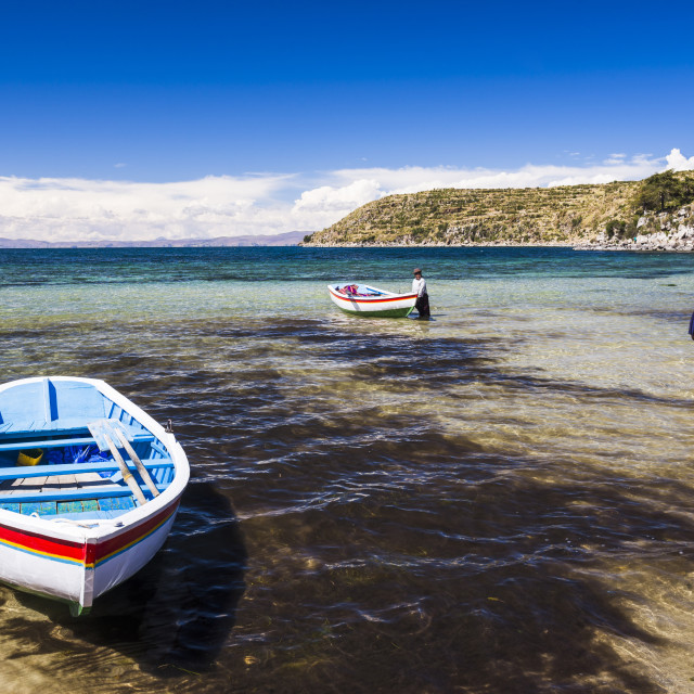 """Villagers going fishing on Lake Titicaca at Challapampa village, Isla del Sol..."" stock image"
