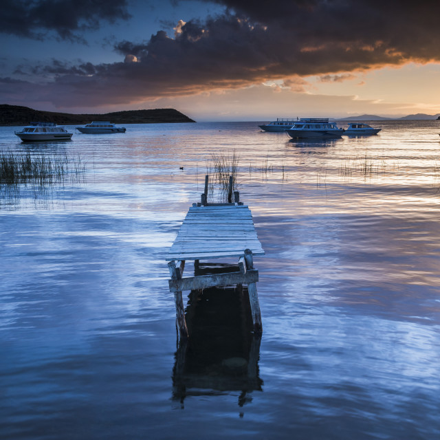 """""""Sunrise at Lake Titicaca, Challapampa, Isla del Sol (Island of the Sun), Bolivia"""" stock image"""