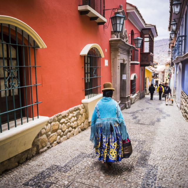 """Chollita on Calle Jaen, a colourful colonial cobble street in La Paz, La Paz..."" stock image"