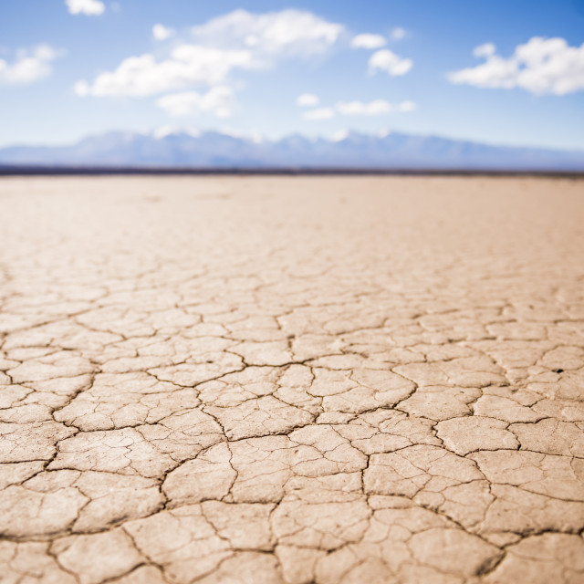 """""""El Barreal Blanco de la Pampa del Leoncito, a dried river bed at Barreal, San..."""" stock image"""