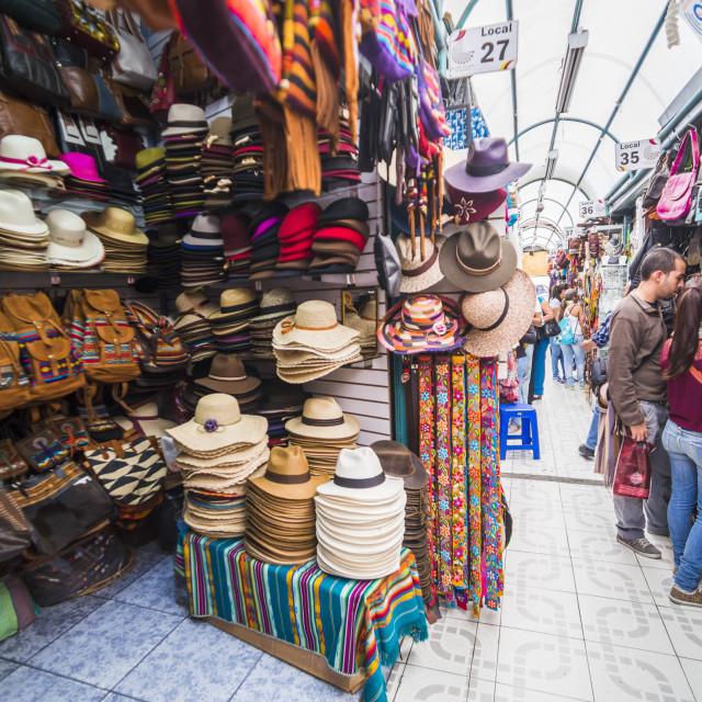"""""""Mariscal Artisanal Market (Mercado Artesanal La Mariscal), Quito, Ecuador,..."""" stock image"""