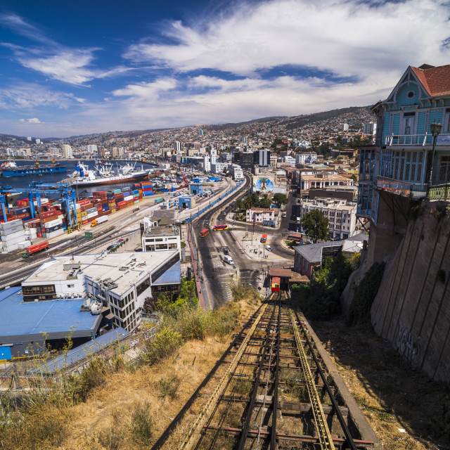 """Funicular train 21 de Mayo (May 21st) and Valparaiso Port on Artillery Hill,..."" stock image"