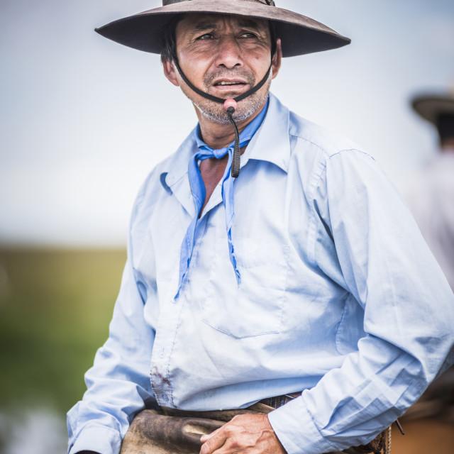 """Gauchos on a traditional Argentinian cattle farm, Estancia San Juan de..."" stock image"