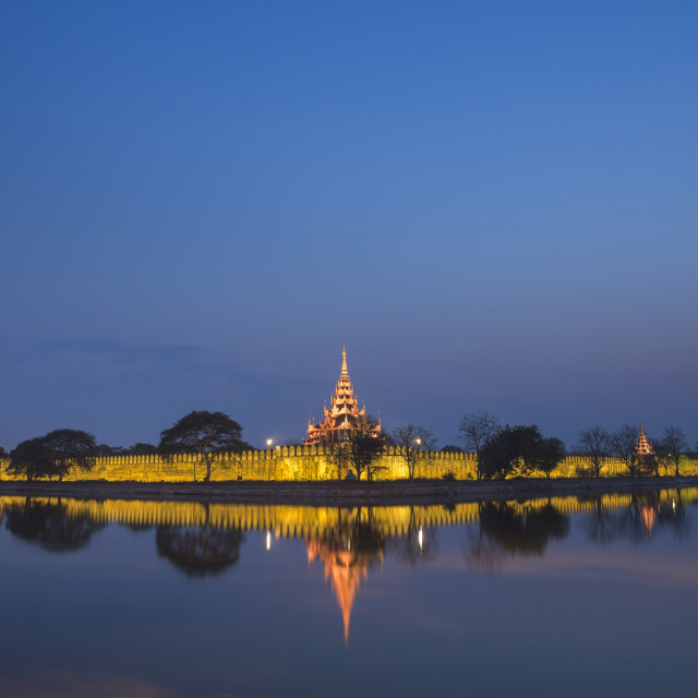 """""""Mandalay City Fort and Palace reflected in the moat surrrounding the compound..."""" stock image"""