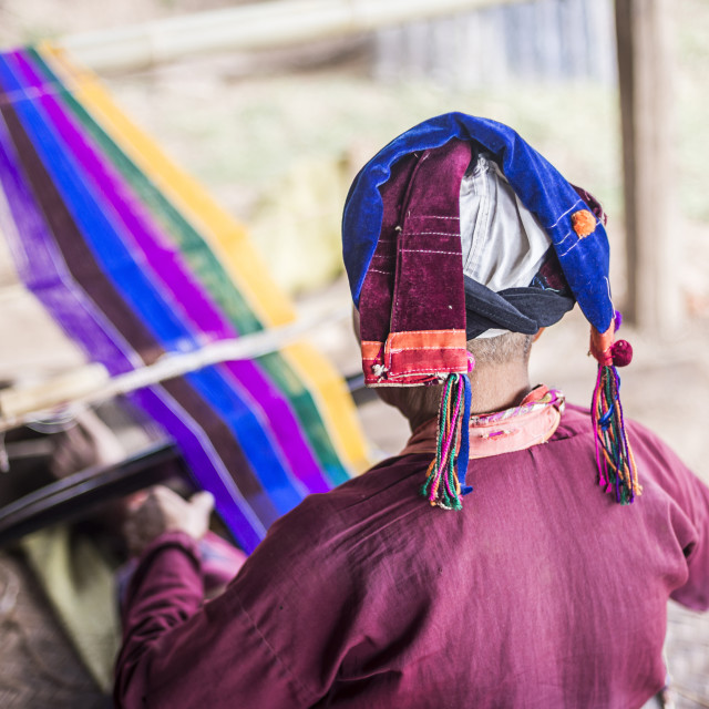 """""""Palaung woman weaving, part of the Palau Hill Tribe near Hsipaw Township,..."""" stock image"""