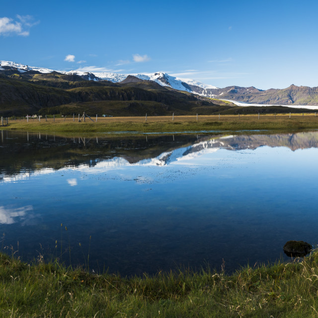 """Vatnajokull Ice Cap reflection, seen near Skaftafell in Vatnajokull National..."" stock image"