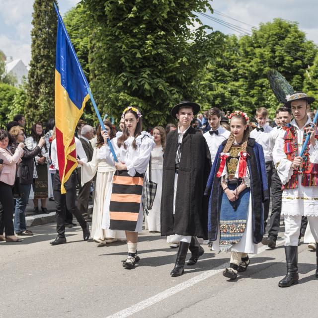 """Traditional Clothes of Romania Festival, Nasaud, Transylvania, Romania, Europe"" stock image"