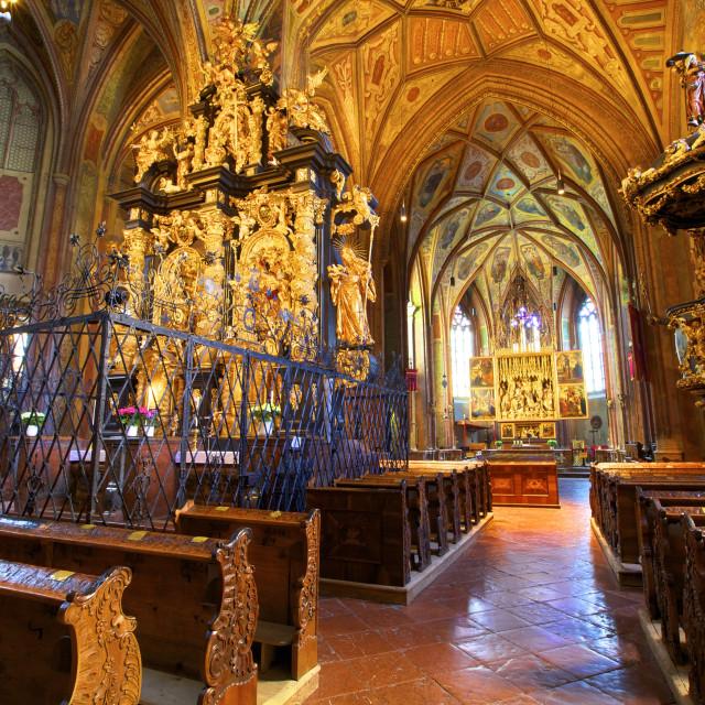 """""""Pilgrimage Church, St. Wolfgang, Austria, Europe,"""" stock image"""