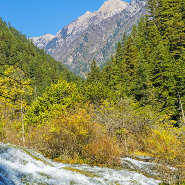 """Pearl Shoal Waterfall, Jiuzhaigou National Park, Sichuan Province, China,..."" stock image"