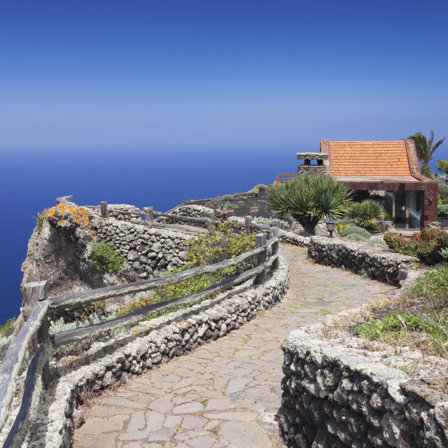"""Restaurant at Mirador de la Pena, architect Cesar Manrique, UNESCO biosphere..."" stock image"