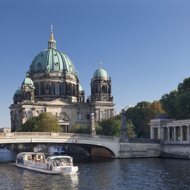 """""""Excursion boat on Spree River, Berliner Dom (Berlin Cathedral), Spree River,..."""" stock image"""
