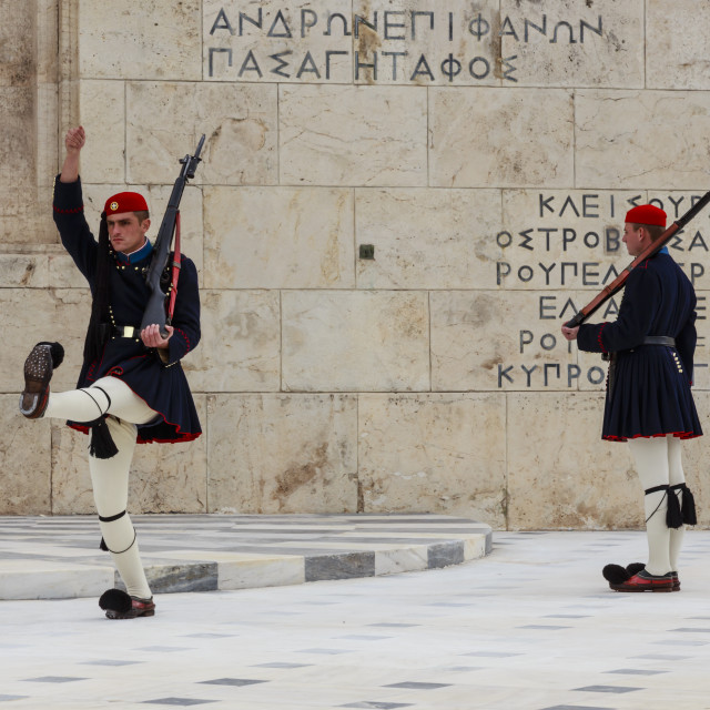 """""""Evzone soldiers, Changing the Guard, Tomb of the Unknown Soldier, Parliament..."""" stock image"""