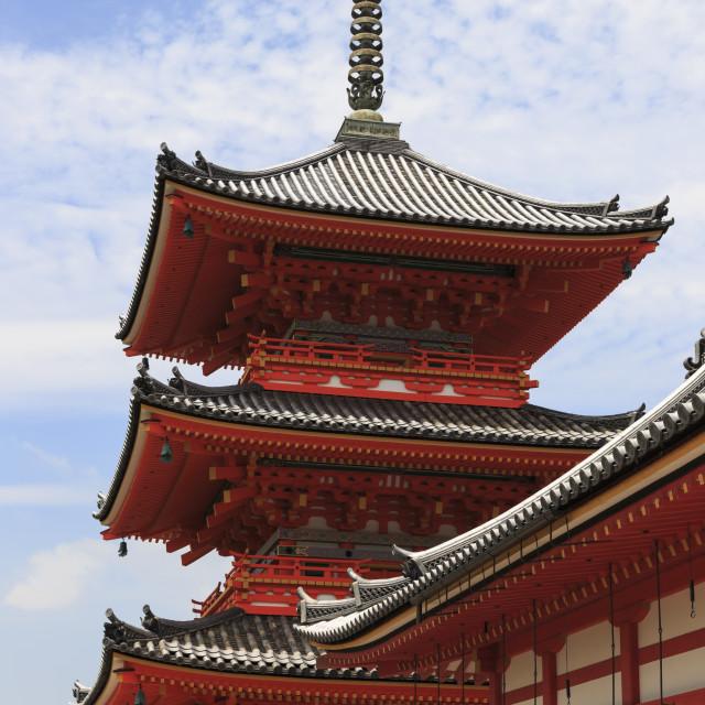 """Vermillion three storey pagoda, Kiyomizu-dera entrance, Buddhist temple,..."" stock image"