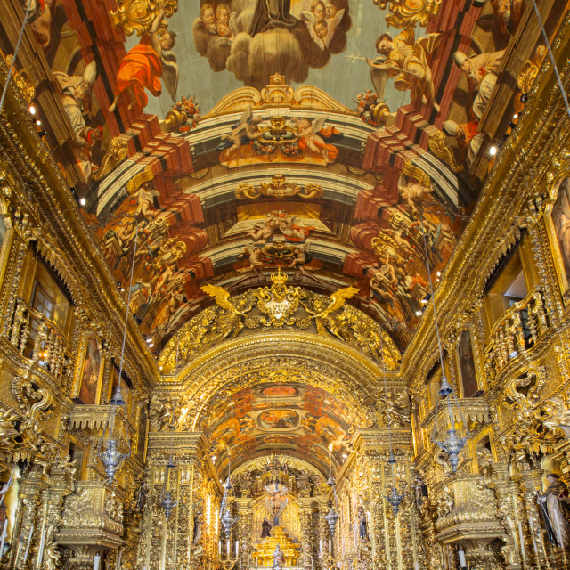 """""""Baroque interior of the church of Order of St. Francis of Penitence (Ordem..."""" stock image"""