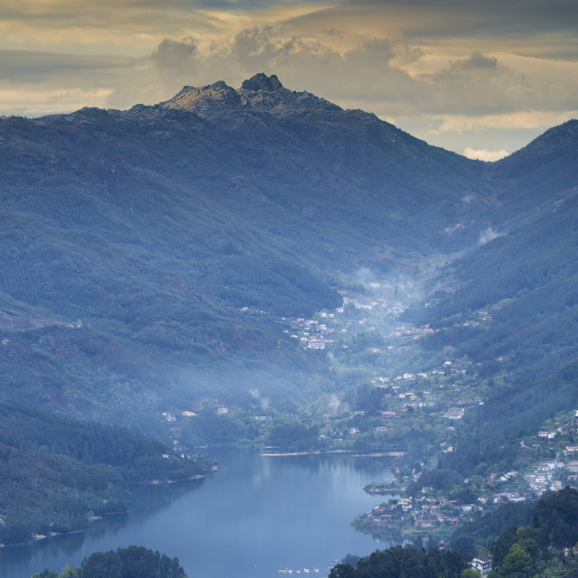 """""""View of the Serra do Geres mountains, terraced fields and the Rio Homem..."""" stock image"""