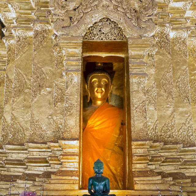 """""""Emerald Buddha and golden Buddha in the main bot of historic Wat Phra That..."""" stock image"""