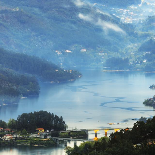 """The Homem River at dawn, Peneda Geres National Park, the only national park..."" stock image"