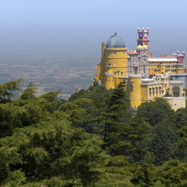 """The colorful and decorated castle of Palacio da Pena, UNESCO World Heritage..."" stock image"