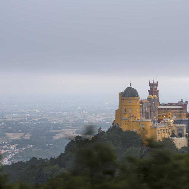 """The colorful castle of Palacio da Pena, UNESCO World Heritage Site, on top of..."" stock image"