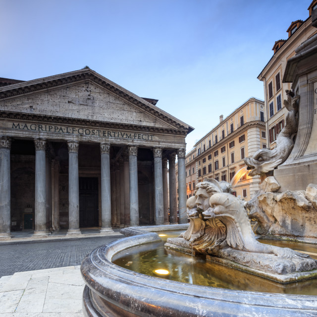"""""""View of old Pantheon a circular building with a portico of granite Corinthian..."""" stock image"""