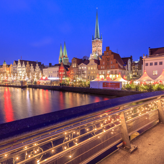 """""""Night view of typical houses and the cathedral reflected in River Trave,..."""" stock image"""
