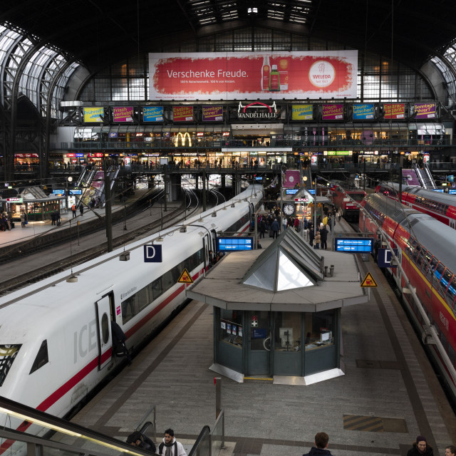 """""""View of the Central Railway Station of Hamburg, the major transportation hub..."""" stock image"""