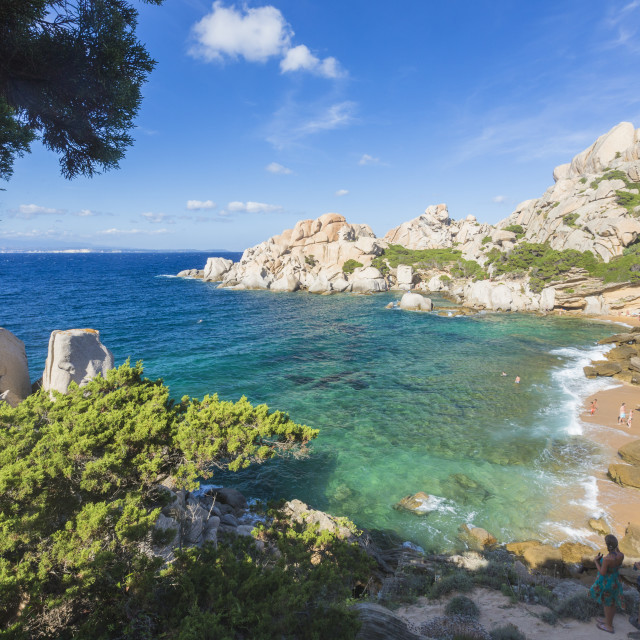 """""""The turquoise sea and sandy beach surrounded by cliffs Capo Testa Santa..."""" stock image"""