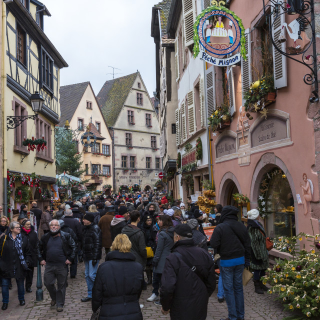"""""""Tourists in the pedestrian road of the old town at Christmas time Kaysersberg..."""" stock image"""