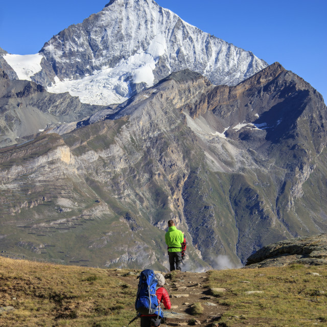 """Hikers proceed towards the high peak of Dent Herens in a clear summer day..."" stock image"