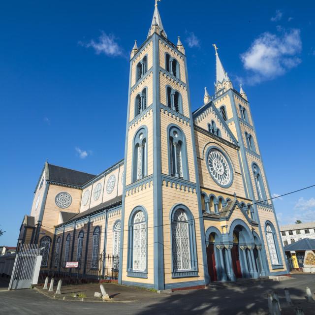 """Saint Peter and Paul Basilica, Unesco world heritage sight Paramaribo, Suriname"" stock image"