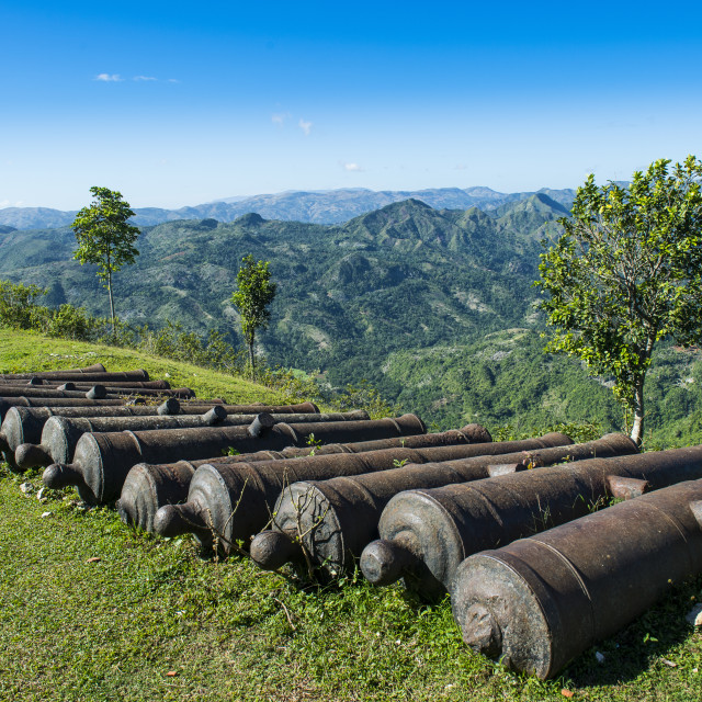 """Old cannons before the Unesco world heritage sight the Citadelle Laferriere ,..."" stock image"